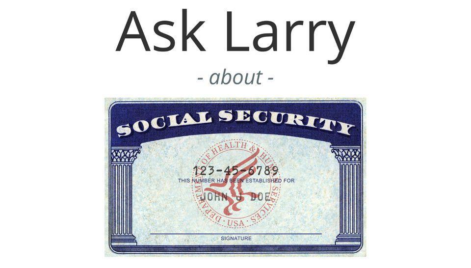 Ask Larry logo with a generic Social Security card.