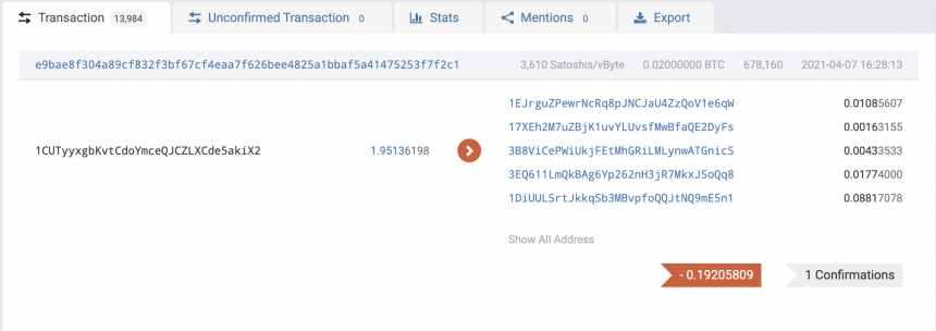 Snapshot of a live transaction on the Bitcoin network. Source: BTC.com